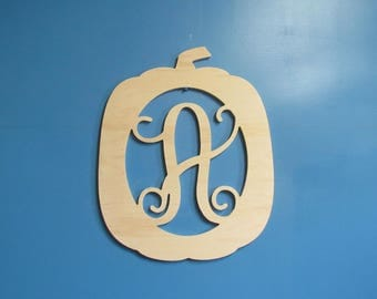 Unfinished Wood Pumpkin with a Monogram Script Letter at the Center, 19.5 inches tall