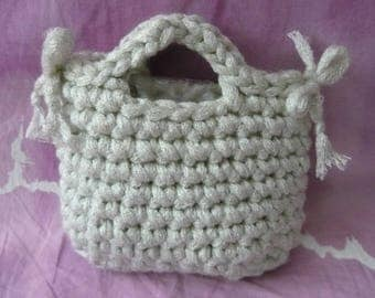 Girls ' handbag made of crocheted and decorated with 2 flakes-Bag-Bag for every occasion-low point-white with silver lurex