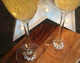 His/Hers & Husband/Wife wine glass charms
