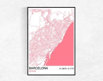 Barcelona City Map Poster, Custom Map Print, Street Map, Large Poster, Wall Art, Minimalist Map Print, Map Wall Art, City Map Print