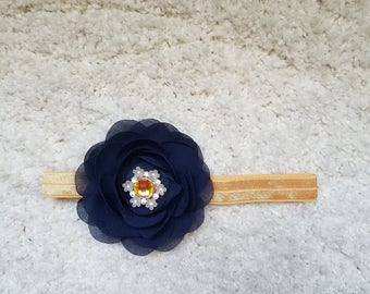 Gold and navy blue flower headband