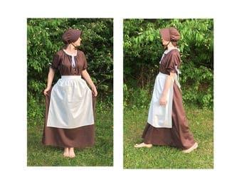 Size L Complete Outfit - Womens Pioneer Trek Colonial Frontier Prairie Pilgrims Renaissance Reenactment Civil War Dress Costume Adult Size