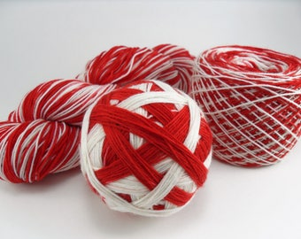 Hand Dyed Self-Striping Sock Yarn Candy Cane SW Merino Nylon handdyed hand-dyed