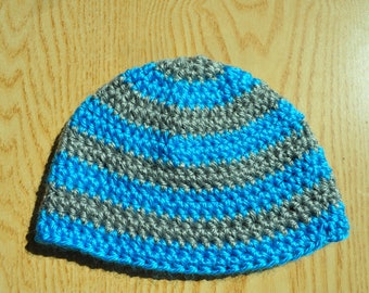 Blue and Gray Baby Hat/ Crochet Baby Hat/ Baby Boy Hat