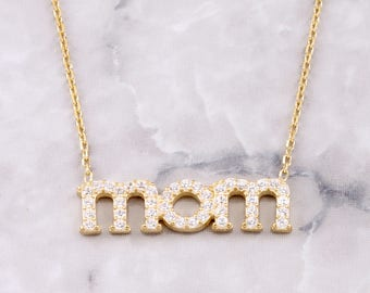 Pave Mom Necklace | Mother's day | Gift ideas | Mommy Necklace
