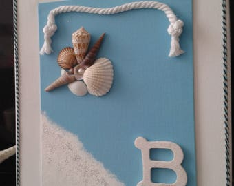 3D Coastal Wall Decoration, Seashells, Rope, Glitter, for Home or Office, Free shipping,  Nautical Decor,