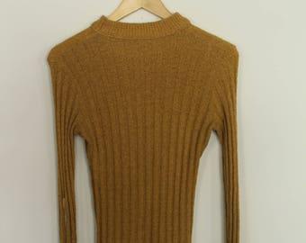 vintage mustard ribbed mock neck knit sweater / S