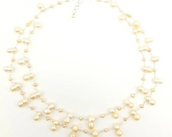 "19"" - 20.5"" Fresh Water Peanut Shape Pearl Necklace"
