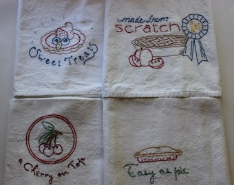 """Hand Embroidered Tea Towels - Embroidered Tea Towels - Set of 4 - """"Made From Scratch"""""""