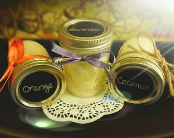 Homemade sugar scrub made with all natural and organic ingredients. Most natural way of gently exfoliating even the most sensitive of skin.