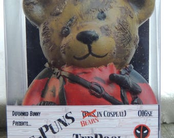 Bears in Cosplay - TedPool UNMASKED ooak Bear Custom Money Box (Deadpool)