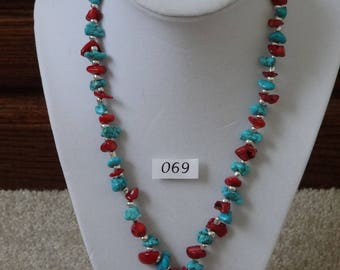 Turquoise and bamboo coral necklace with silver pendant and matching pierced earrings