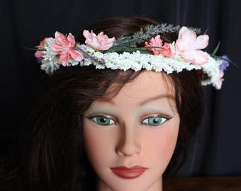 Japanese Cherry Blossom and Lavender Flower Crown