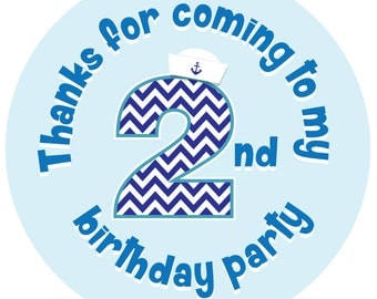 Nautical theme 'Thanks For Coming To My 2nd Party' - 30mm or 60mm diameter party stickers