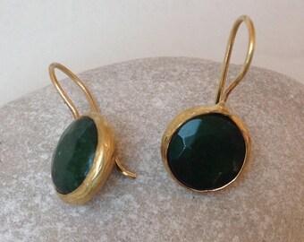 QUARTZ earrings. Earrings gold 14kt and green Quartz.
