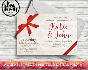 Vintage Red Bow Landscape - Luxury Customised Engagement Party Invitations (Printed & Digital)