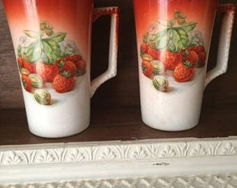 Antique dresden china 1890 strawberry cups