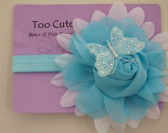 Pretty Blue and White Butterfly Rose Headband