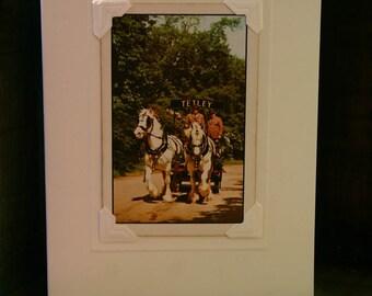 Handmade greetings/birthday card. Genuine vintage playing card, 1960s Tetley Brewery