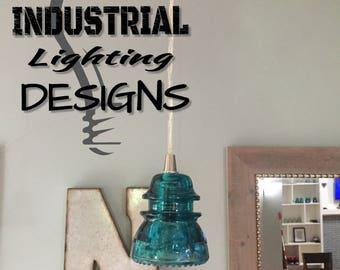 Antique Glass Insulator Pendant Light
