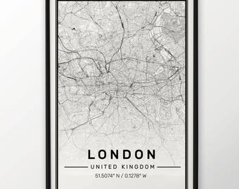 London City Map Print, Modern Contemporary poster in sizes 50x70 fit for Ikea frame All city available London, New york Paris Madrid Rome