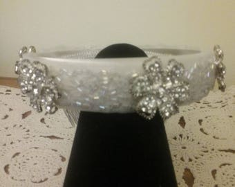 Antiqued sparkling bun wrap headpiece for Bridal/ First communion