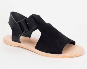 BRIO black nubuck sandal