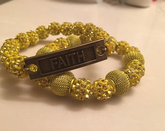 "Yellow set of two ""faith"" rhinestone bracelet."
