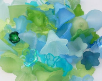 Lucite Acrylic Flower Beads, Variety Mix, Lagoon Hues, 50g