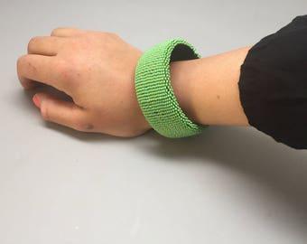 Pastel pale green  handmade beaded bracelet