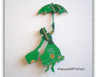 Mary Poppins Silhouette Cut Out of Recycled Circuit Board - Choose Option: Magnet, Pin or Hanging Ornament?