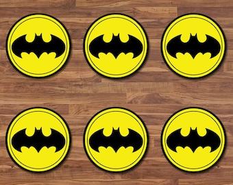 Batman Cupcake Toppers - Batman Stickers - Black & Yellow Logo - Batman Birthday - Batman Printables - Batman 2 inch Round Stickers