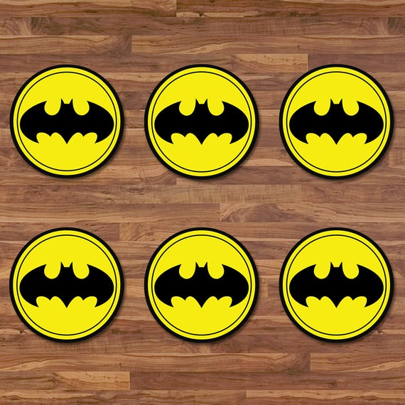 Batman Cupcake Toppers - Batman Stickers - Black & Yellow Logo - Batman Birthday - Batman Printables - Batman 2 inch Round Stickers