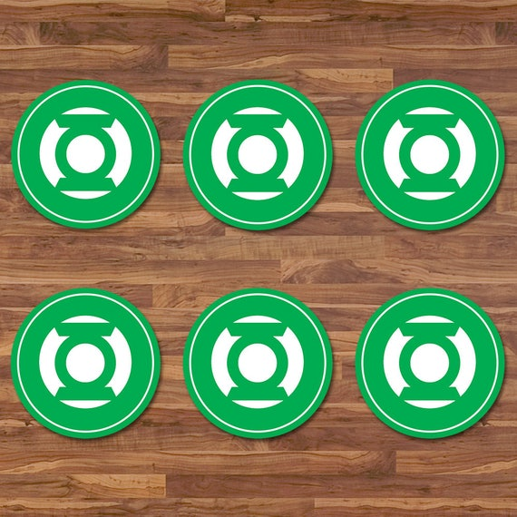 Green Lantern Cupcake Toppers - Green Lantern Stickers - Green & White Logo - Green Lantern Birthday - Green Lantern 2 inch Round Stickers