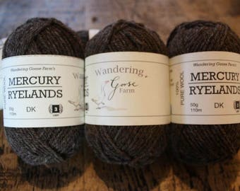 Natural, undyed Coloured Ryeland wool. Double Knit or Aran. 50g