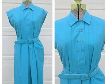 SALE Vintage 1960's Teal Pleated Midi Dress w Belt, Medium/Large