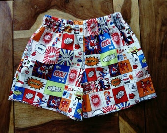 Boys comic book superhero shorts