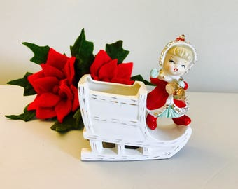 REDUCED- Vintage Ucagco Christmas Girl Pixie Elf Sleigh Sled  Planter Candleholder Figurine Japan 1950's