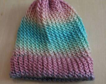 Rainbow preemie/newborn knit cap