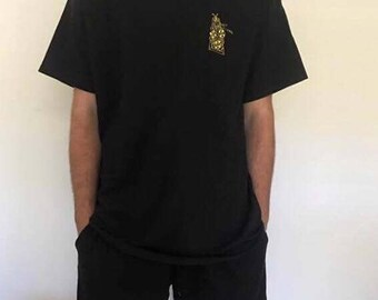 Floral Black Embroidered T Shirt