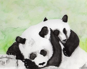 Snuggling Pandas Print
