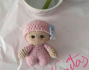 Amigurumi small baby costume and Pink Hat, and a beautiful blue butterfly embellishment. 8 cm ap. safety eye. READY TO SHIP.
