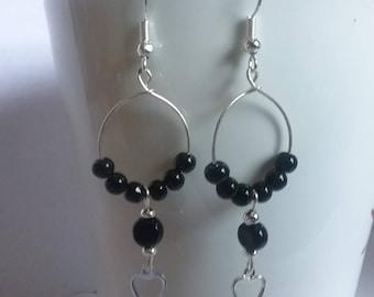 Black beaded hoops w/ hearts