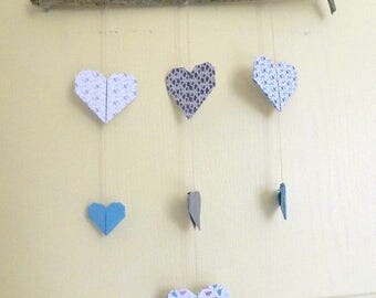 Hanging sales mobile Origami heart, drift wood - free shipping