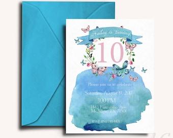 Birthday Invitation, Watercolor, Girl Invitations