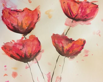 Watercolor Poppies Painting