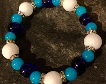 White And Blue Stretch Bracelet