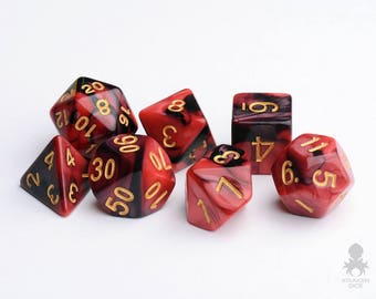 D&D Dice | DnD Dice | Role Playing Dice | Dungeons and Dragons Dice Set | Crimson Midnight (KD0003)