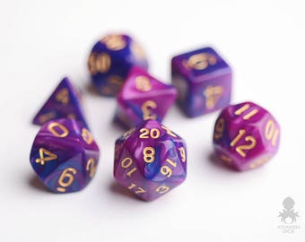 Polyhedral Dice Set For Dungeons and Dragons & Pathfinder | DnD D20 RPG Role Playing Games 16mm Dice - Royal Passion (KD0001)