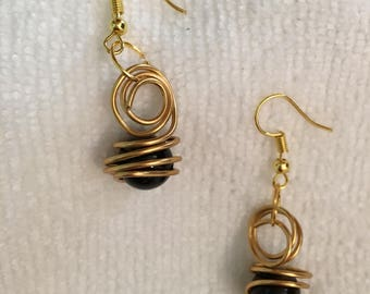 Wire Wrapped Smoky Quartz Earrings